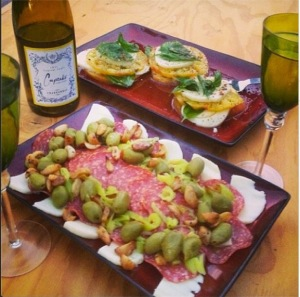 No Cook Meals-  Antipasto salad and caprese salad with wine. The perfect summer meal.