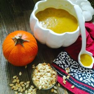 Roasted Garlic Pumpkin Seeds and Spicy Pumpkin Soup